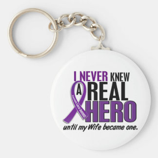 Pancreatic Cancer NEVER KNEW A HERO 2 Wife Key Ring
