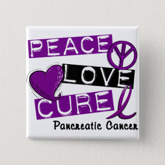 Pancreatic Cancer PEACE LOVE CURE 1 15 Cm Square Badge