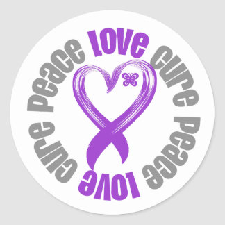 Pancreatic Cancer Peace Love Cure Ribbon Round Stickers