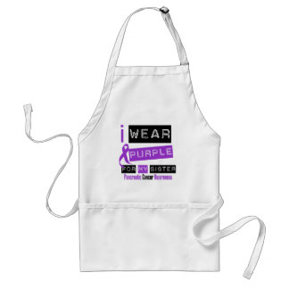 Pancreatic Cancer Purple Ribbon For My Sister Adult Apron
