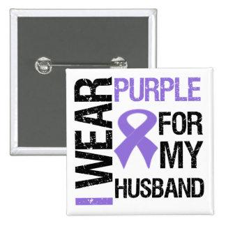 Pancreatic Cancer Purple Ribbon (Husband) 15 Cm Square Badge