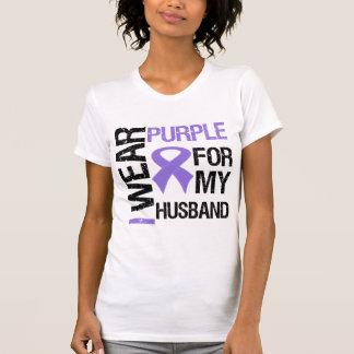 Pancreatic Cancer Purple Ribbon (Husband) T Shirt