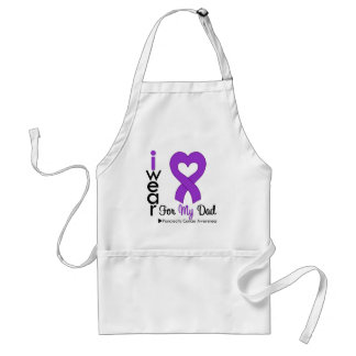 Pancreatic Cancer Purple Ribbon Support Dad Adult Apron
