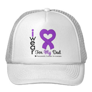 Pancreatic Cancer Purple Ribbon Support Dad Trucker Hat