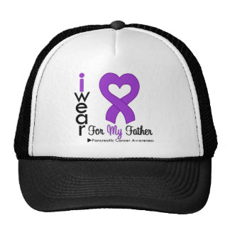 Pancreatic Cancer Purple Ribbon Support Father Trucker Hats