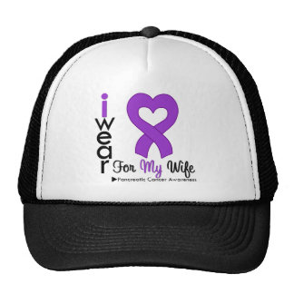 Pancreatic Cancer Purple Ribbon Support Wife Mesh Hat