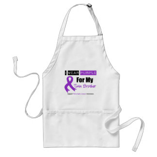 Pancreatic Cancer Purple Ribbon Twin Brother Adult Apron