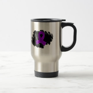 Pancreatic Cancer Purple Ribbon With Scribble Stainless Steel Travel Mug