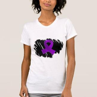 Pancreatic Cancer Purple Ribbon With Scribble Tee Shirt