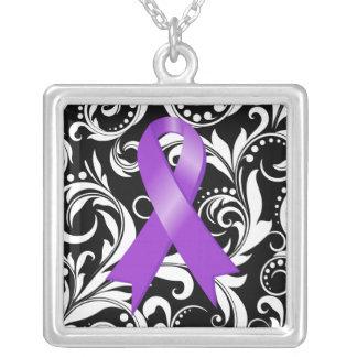 Pancreatic Cancer Ribbon Deco Floral Noir Pendant