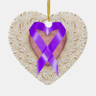 Pancreatic Cancer Ribbon From the Heart - SRF Christmas Ornament