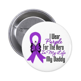 Pancreatic Cancer Ribbon My Hero My Daddy 6 Cm Round Badge