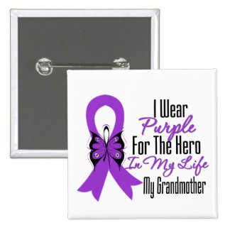 Pancreatic Cancer Ribbon My Hero My Grandmother 15 Cm Square Badge