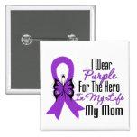 Pancreatic Cancer Ribbon My Hero My Mum Pinback Buttons