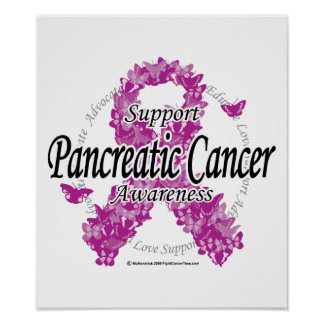 Pancreatic Cancer Ribbon of Butterflies Poster