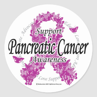 Pancreatic Cancer Ribbon of Butterflies Round Sticker