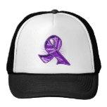 Pancreatic Cancer Slogan Watermark Ribbon Mesh Hat