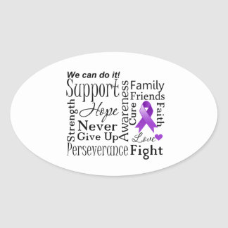 Pancreatic Cancer Supportive Words Oval Sticker