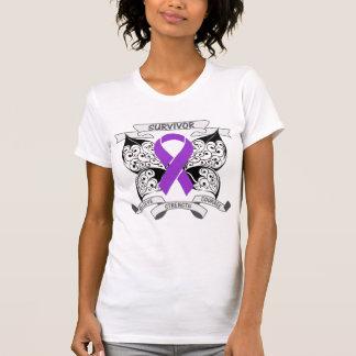 Pancreatic Cancer Survivor Butterfly Strength T Shirts