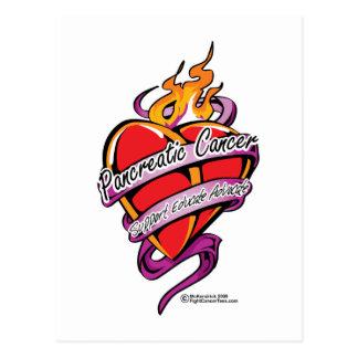 Pancreatic Cancer Tattoo Heart Postcard
