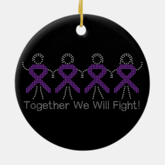 Pancreatic Cancer Together We Will Fight Round Ceramic Decoration