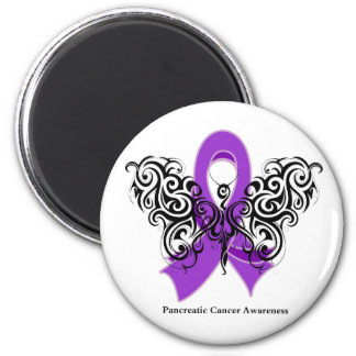 Pancreatic Cancer Tribal Butterfly Ribbon 6 Cm Round Magnet