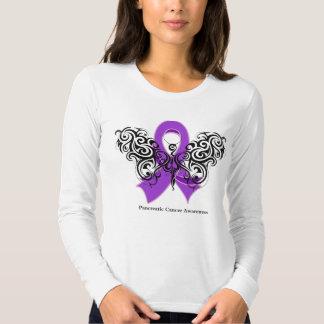 Pancreatic Cancer Tribal Butterfly Ribbon T-shirt