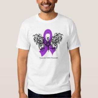 Pancreatic Cancer Tribal Butterfly Ribbon Tshirts