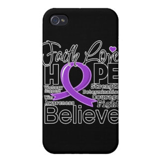 Pancreatic Cancer Typographic Faith Love Hope Covers For iPhone 4