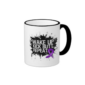 Pancreatic Cancer Wake Up Kick Butt Repeat Ringer Mug