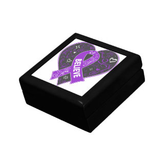 Pancreatitis Believe Ribbon Heart Small Square Gift Box
