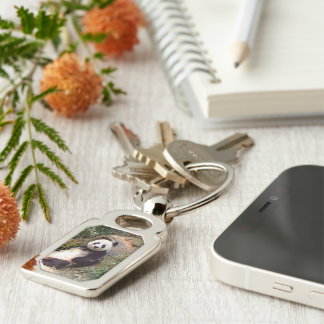 Panda 0315P Silver-Colored Rectangle Key Ring