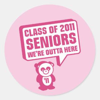 Panda 2011 Senior Pink Round Sticker