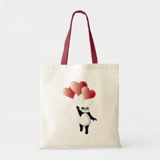 Panda and Balloons Tote Bags