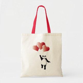 Panda and Balloons Tote Budget Tote Bag