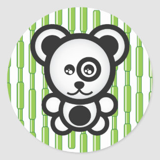 Panda and Bamboo Classic Round Sticker