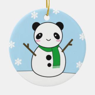 Panda and Bunny Snowmen Round Ceramic Decoration