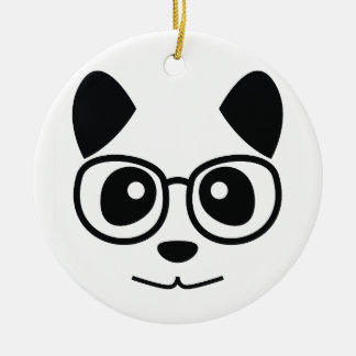 Panda And Glasses Round Ceramic Decoration