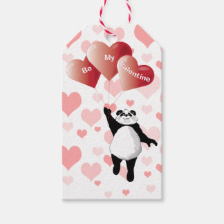 Panda and Valentine Balloons Gift Tags