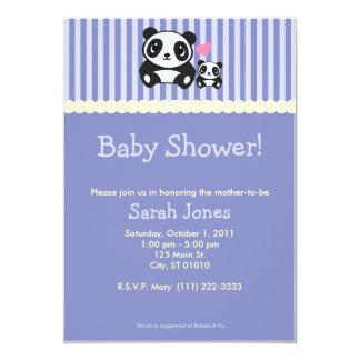 Panda Baby Shower - Purple 13 Cm X 18 Cm Invitation Card