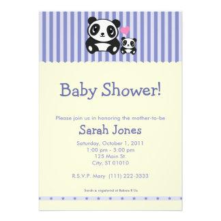 Panda Baby Shower - Purple Cream Custom Invitation