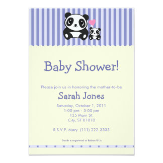 "Panda Baby Shower - Purple & Cream 5"" X 7"" Invitation Card"