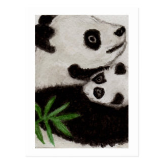 Panda & Baby Watercolour Postcard thankyou etc.