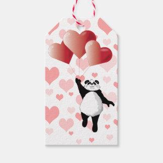 Panda, Balloons and Pink Hearts Gift Tags