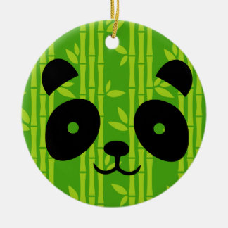 panda bamboo round ceramic decoration