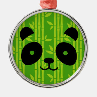 panda bamboo Silver-Colored round decoration