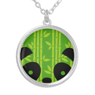 panda_bamboo silver plated necklace