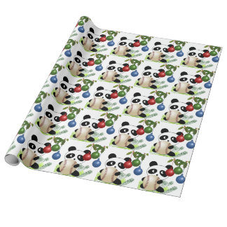 Panda baseball Christmas Wrapping Paper