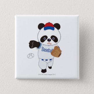 Panda Baseball Player Pitching a Baseball 15 Cm Square Badge