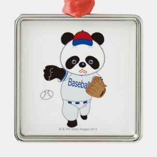Panda Baseball Player Pitching a Baseball Christmas Ornament
